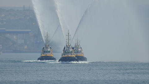 Russian Fireboats Exhibit their Work Footage