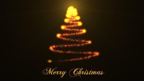 Beautiful Sparkly Christmas Tree on black background. Christmas theme background Animation