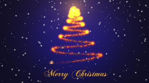 Beautiful Sparkly Christmas Tree on blue gradient background with snowflakes. Christmas theme Animation