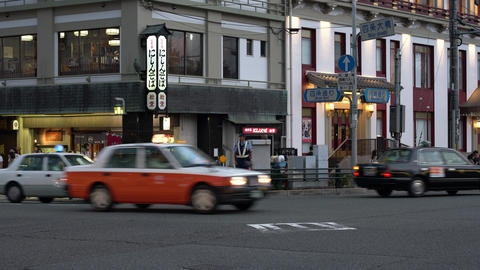 Kyoto,Japan-September 27, 2019: Busy Shijo Ohashi intersection in Kyoto in the evening Live Action