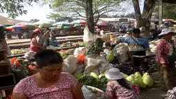 A large market on the station platform and along the rail track, Danyingon Railw Footage