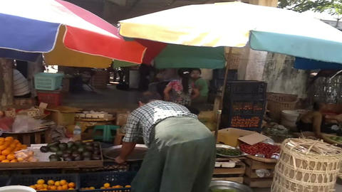 Market on the train station platform. February 23, 2014 - Yangon, Myanmar Footage