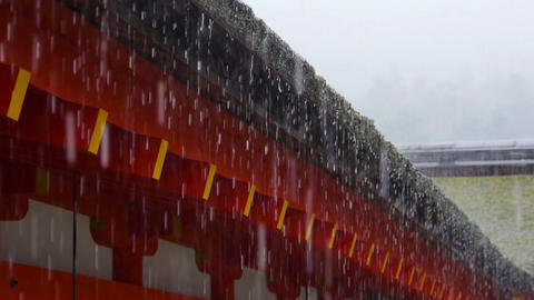 Japanese roof under heavy rain Footage