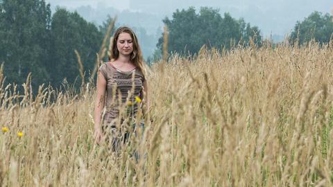 Girl in field Footage