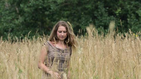 Girl in field2 Footage