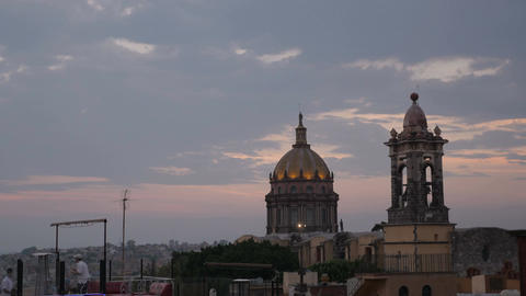 Time-lapse of sunset against a historic colonial church in San Miguel de Allende Footage