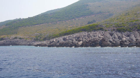 View from a boat at the Greek shore Footage