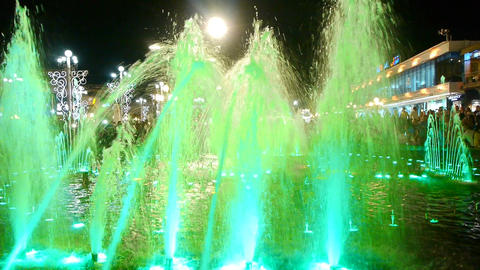 Dancing fountain with lights Footage
