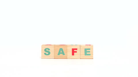 Safe word made of wooden cubes Footage