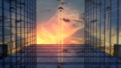 Airplane Flies Over Business Skyscrapers Against Sunset Clouds CG動画
