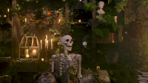 Special event for Halloween. Candles, skeletons and other objects Live Action