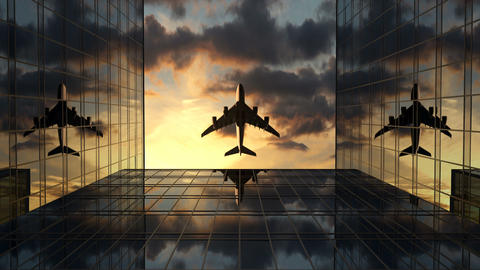 Airplane Flies Over Business Skyscrapers Against a Time-Lapse of Sunset Clouds CG動画