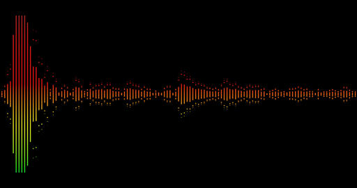 multi-color warm digital equalizer audio spectrum sound waves on black background, stereo sound Live Action