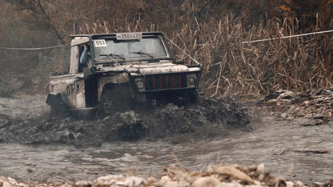 Rally jeeping competition in the Russian city of Kislovodsk 09 28 2019 Live Action