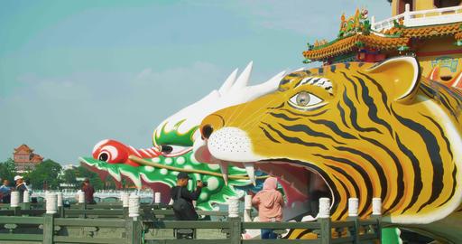 Lotus Pond's Dragon and Tiger Pagodas. kaohsiung city.... Stock Video Footage
