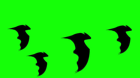 A group of Halloween Flat style Bats flying against green... Stock Video Footage