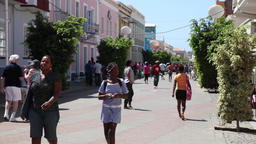 people walking in Praia city downtown, cape verde Footage