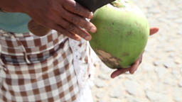 preparing coconut for drinking juice Footage