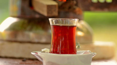 Turkish tea cup Footage