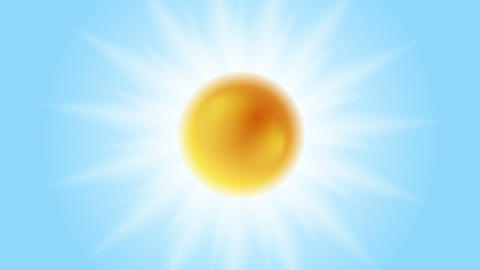 Bright glowing sun animation. Sunlight on blue sky Animation