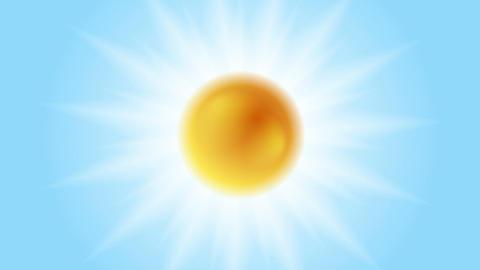 Bright glowing sun animation. Sunlight on blue sky Animation