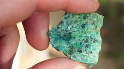 Oxide Copper Ore Rock Chip Sample Closeup Live Action