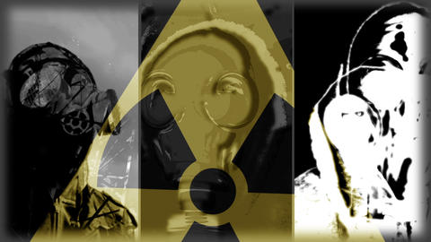 Gas masks and respirator + radiation sign Animation