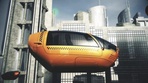 Autonomous Driverless Future EV Taxi City Traffic 3 Animation