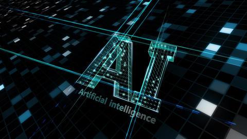 AI, artificial intelligence digital network technologies 19 1 Logo Grid BG 1 N2 kuro 4k Animation