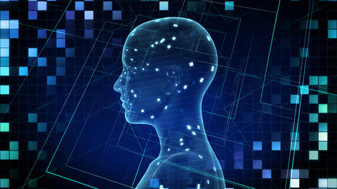 AI, artificial intelligence digital network technologies 19 2 Brain Human Logo Grid BG 1 blue 4k Animation