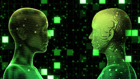 AI, artificial intelligence digital network technologies 19 2 Duo Grid BG 0 green 4k Animation