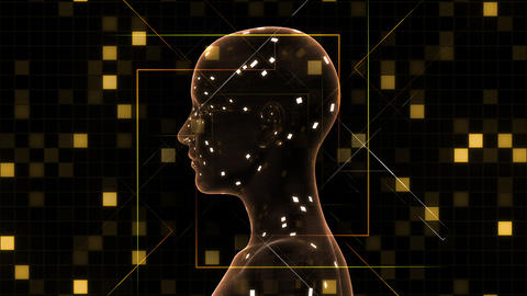 AI, artificial intelligence digital network technologies 19 2 Brain Human Logo Grid BG 0 red 4k Animation