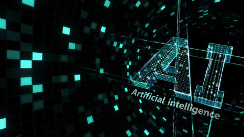AI, artificial intelligence digital network technologies 19 1 Logo Grid BG 1 N1 kuro2 4k CG動画