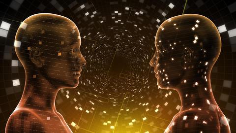 AI, artificial intelligence digital network technologies 19 2 Duo Grid BG 1 red 4k Animation