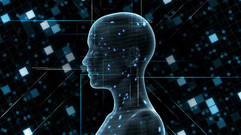 AI, artificial intelligence digital network technologies 19 1 Human Grid BG 0A blue 4k Animation
