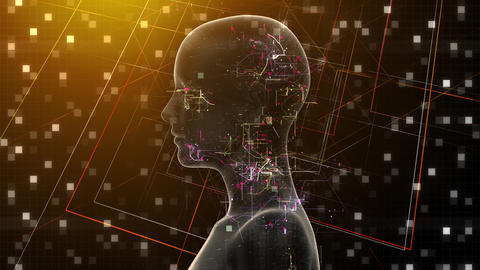 AI, artificial intelligence digital network technologies 19 1 Human Grid BG 1C red 4k Animation