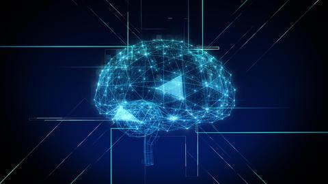 AI, artificial intelligence digital network technologies 19 2 Brain Human Logo 1 blue 4k Animation