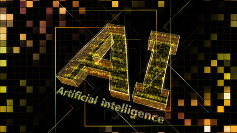 AI, artificial intelligence digital network technologies 19 1 Logo Grid BG 0 N1 red 4k Animation