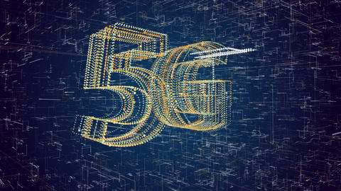 5G generation fast broadband wireless network technology. Animation text on gradient background. 3D Animation