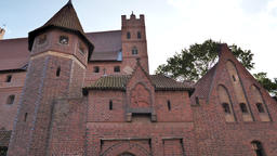 Castle of the Teutonic Order in Malbork. Walls of the high castle Live Action