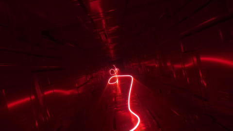 Sci fi Tunnel Loop red neon rope Animation