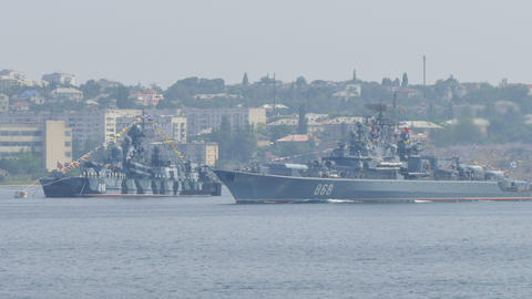 Russian Warships. Parade of Russian Navy Footage