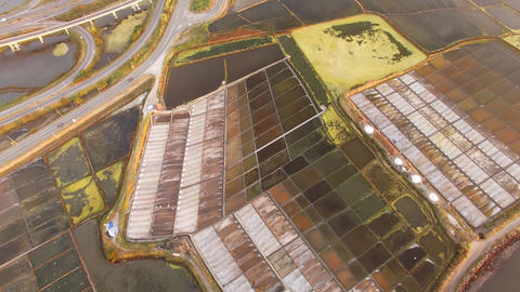 Historical salt pans in Aveiro, Portugal aerial view Footage