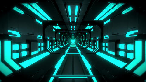 3D Blue Hi-Tech Neon Tunnel Loop Motion Background Videos animados