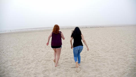 Beautiful girl walks on a sandy beach at the oceanfront Live Action