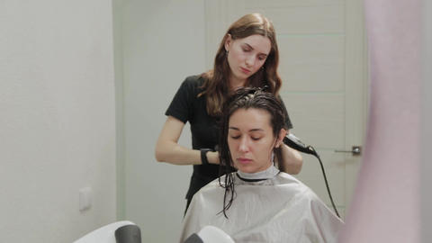 Girl hairdresser dries hair to client with hairdryer at hairdresser Live Action