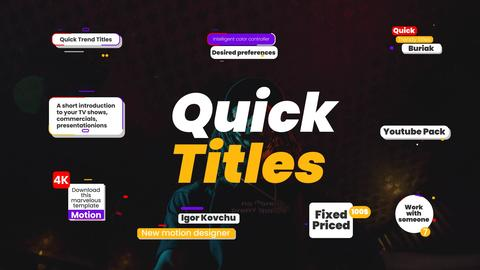 Quick titles pack Motion Graphics Template
