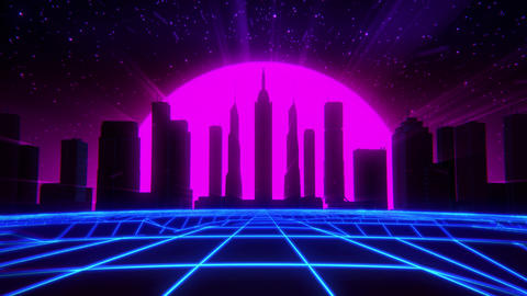 3D Neon Retro Synthwave VJ Loop Motion Backgound Animation