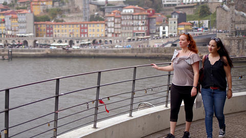 Two women on a sightseeing trip to Porto in Portugal Footage