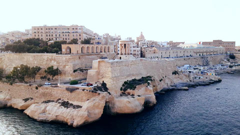 shot of Malta cruise port from top of a cruise ship Footage